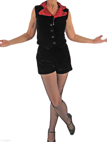 50s/60s Black Velvet Top and Shorts Set - front