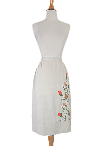 60s Pencil Skirt with Tulips - full view