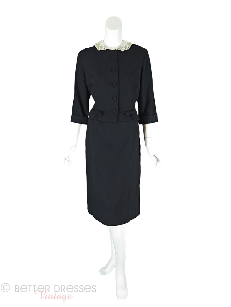 50s/60s Skirt Suit With Lace Collar - full front view