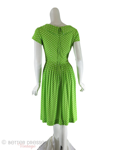 60s Lime Green Polka Dot Dress - back view