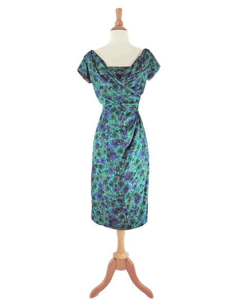 50s Green and Purple Silk Wiggle Dress