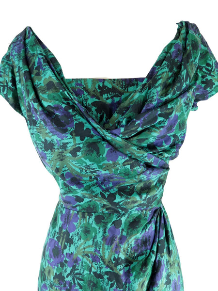 50s Green and Purple Silk Wiggle Dress - close