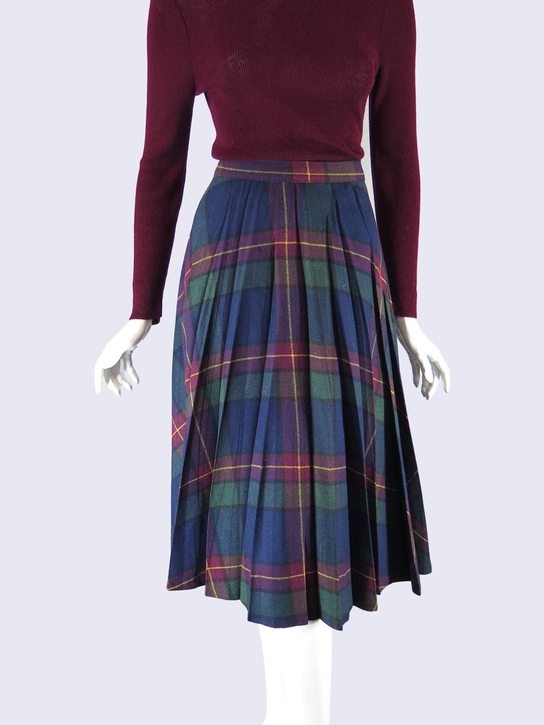 70s Pleated Wool Skirt - close view