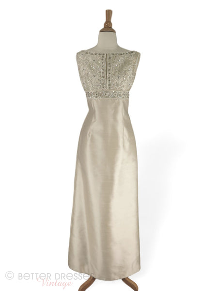 60s Beaded Column Gown in Cream