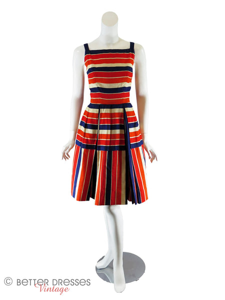 50s Bold Stripe Dress - full front view