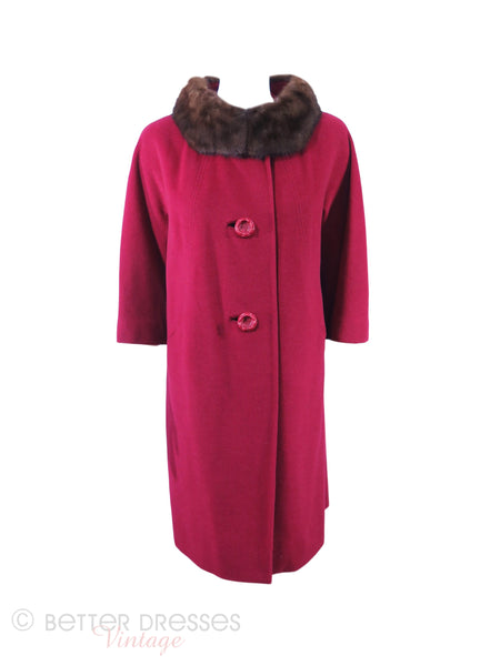 60s Red Swing Coat With Mink Collar - sm, med