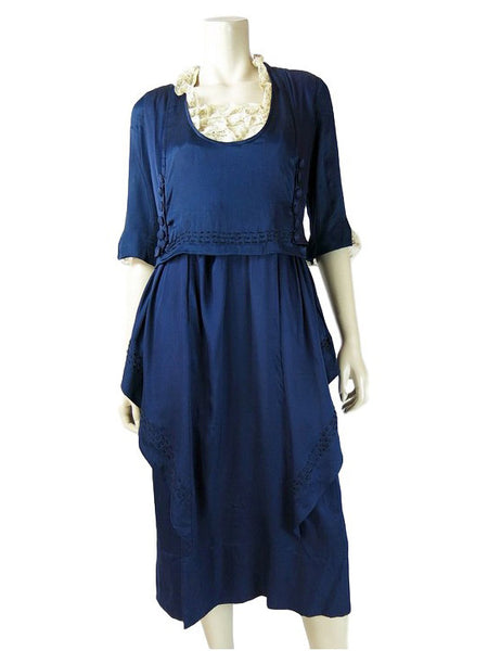 10s Edwardian Blue Silk Dress