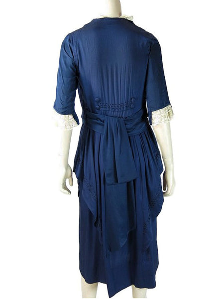 10s Edwardian Blue Silk Dress - full back