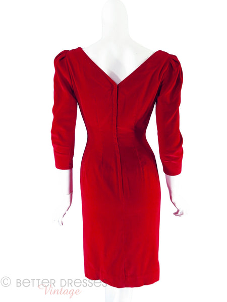 50s/60s Red Velvet Sheath Dress - back
