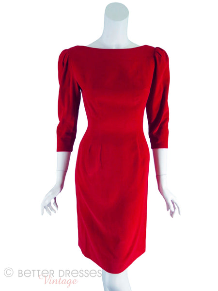 50s/60s Red Velvet Sheath Dress - front