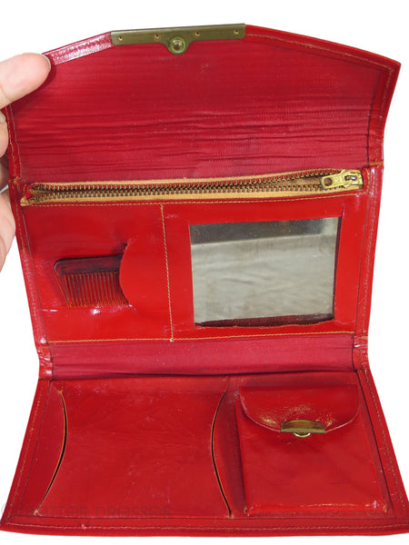 60s Red Leather Wallet With Watch -interior