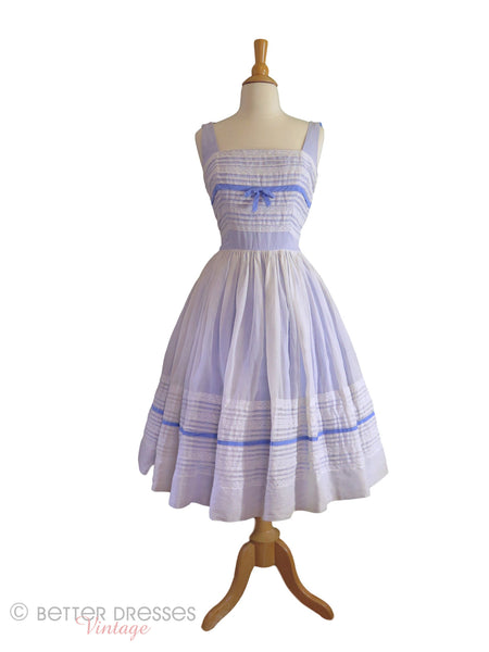 50s White Organdy on Blue Party Dress - with crinoline
