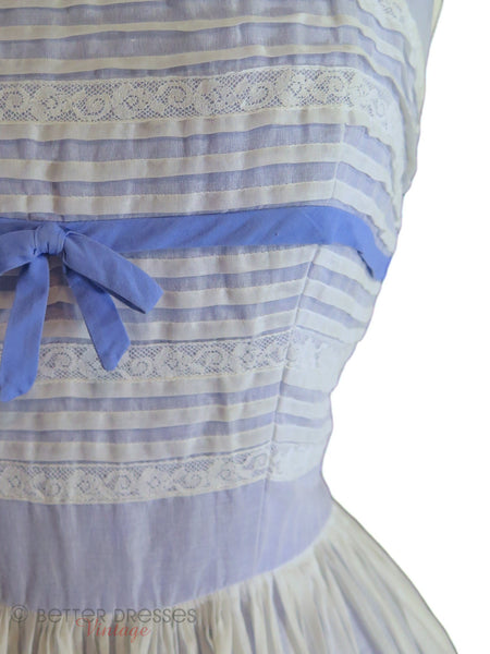50s White Organdy on Blue Party Dress - detail
