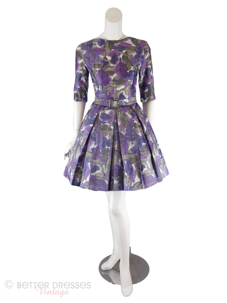50s/60s Purple Watercolor Dress - front with crinoline