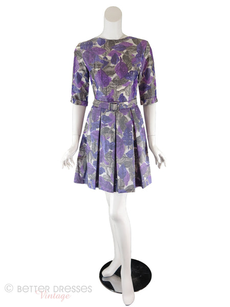 50s/60s Purple Watercolor Dress - front, no crinoline