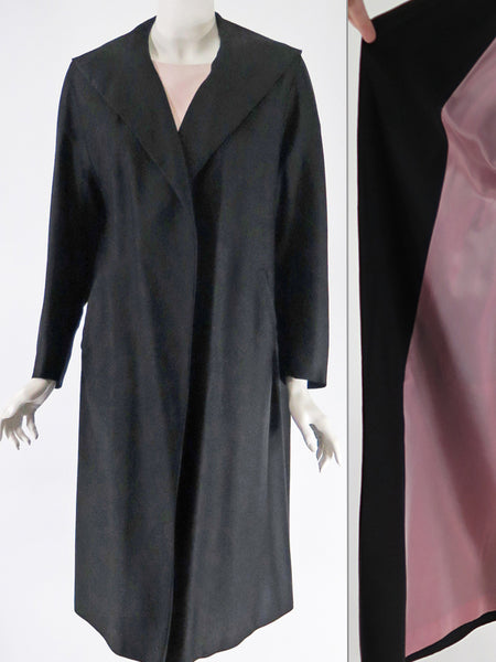 50s Swing Coat in Black with Pink Lining