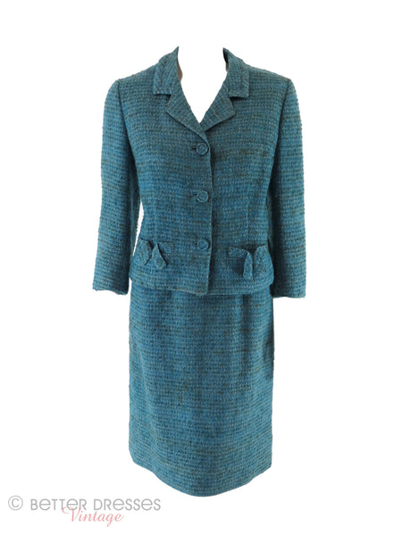 60s Teal Tweed Suit