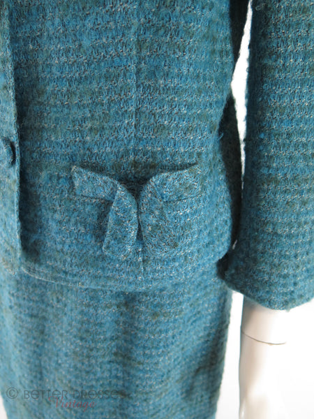 60s Teal Tweed Suit - pocket detail