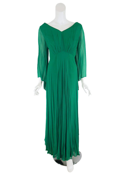 60s Green Plus Size Chiffon Gown - clipped to mannequin