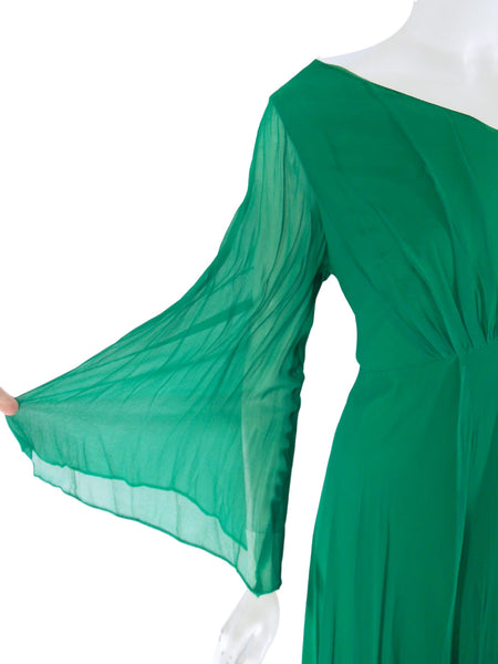 60s Green Plus Size Green Gown - sleeve