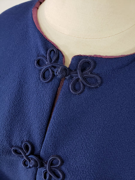 60s Capelet in Blue Crepe