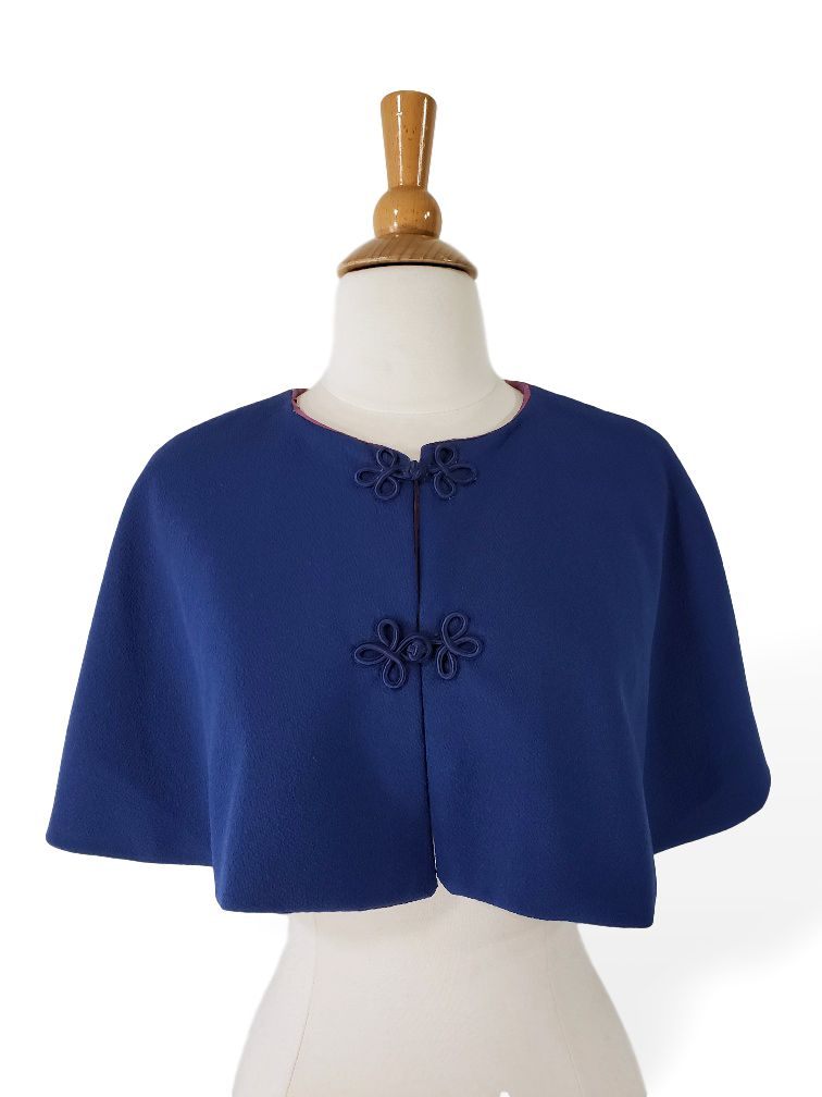 Vintage Blue Capelet With Frog Closures