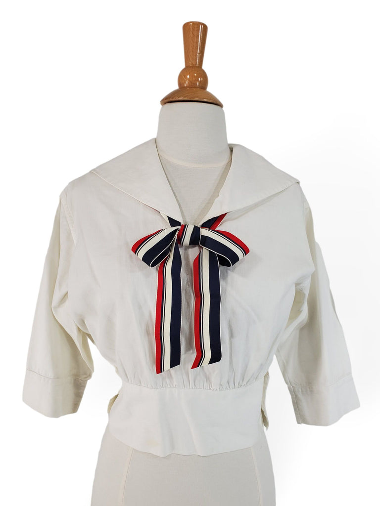 Antique 1910s 1920s Sports Middy Blouse