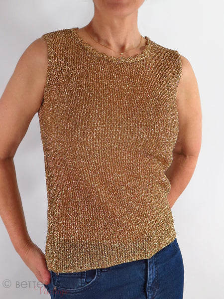 60s Metallic Gold Shell - on a person