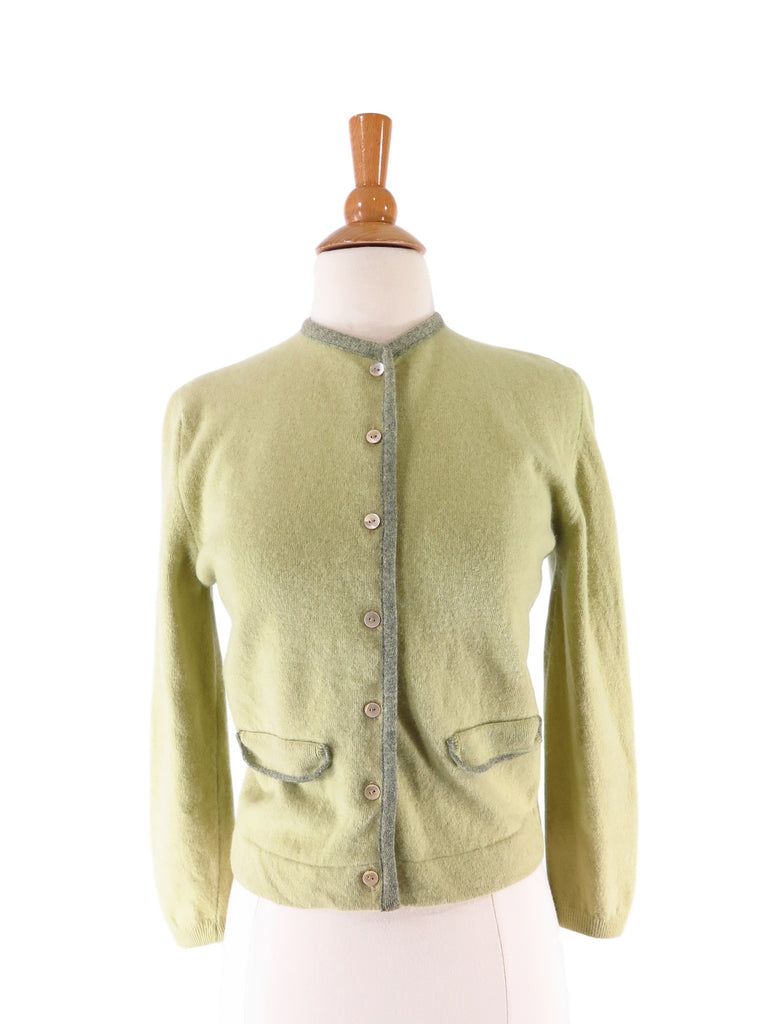 50s/60s Green Wool + Angora Cardigan - front