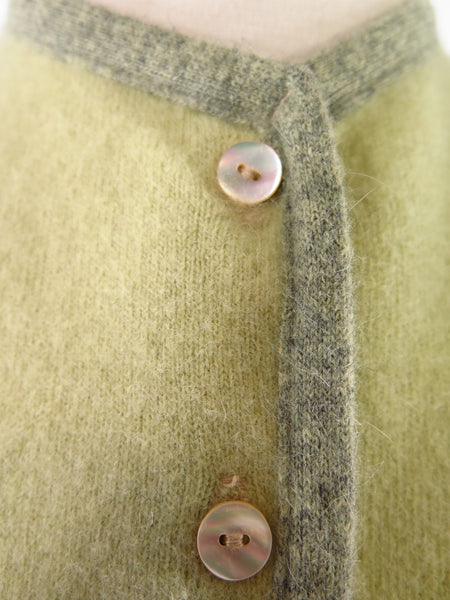 50s/60s Green Wool + Angora Cardigan - closeup