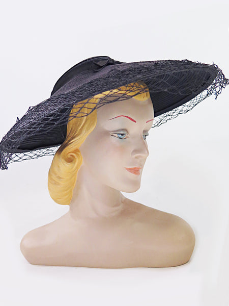 40s/50s Navy New Look Cartwheel Hat