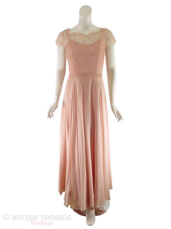30s Evening Gown of Peach Chiffon and Lace - sm – Better Dresses Vintage