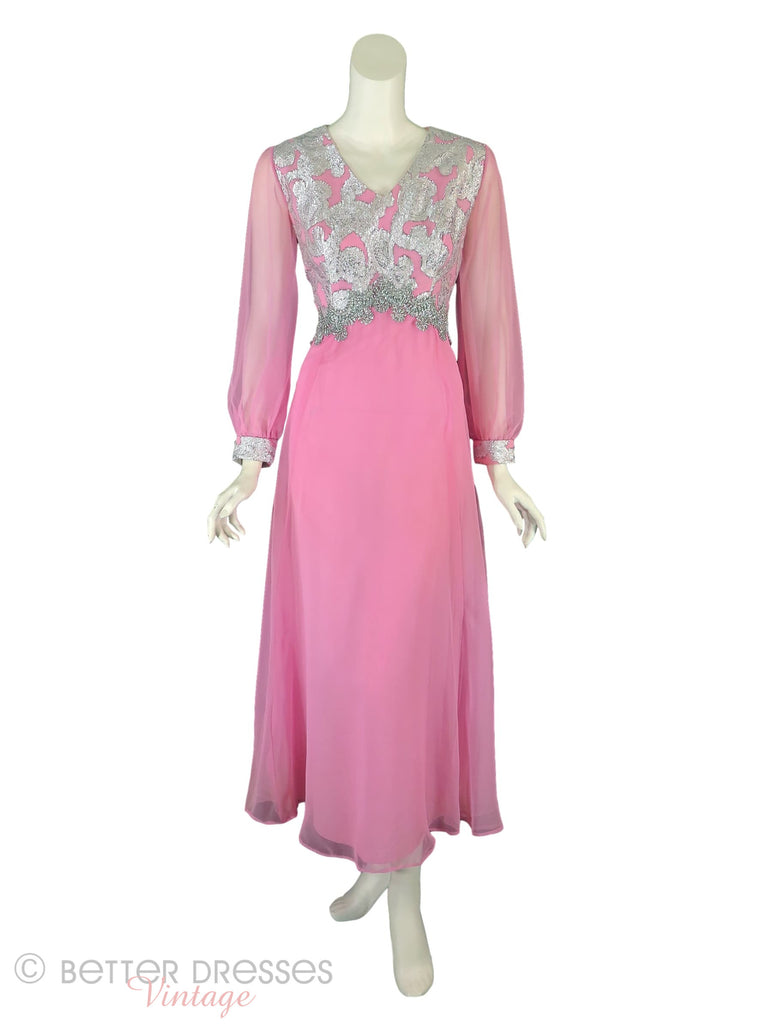 60s Pink and Silver Maxi Gown - Front