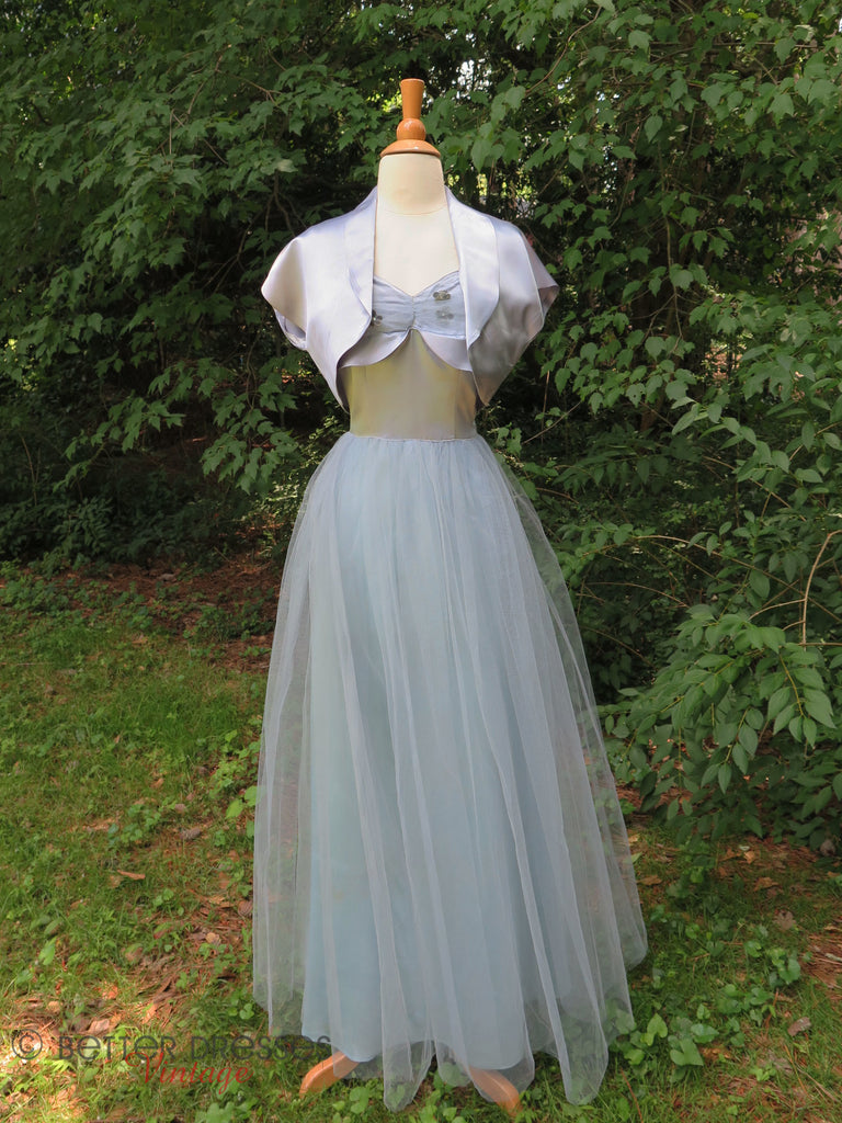 40s Light Blue Ball Gown and Shrug - front