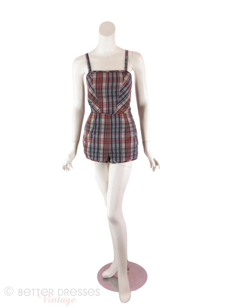 50s Plaid Cotton Romper