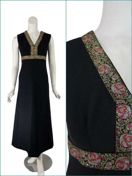60s/70s Black Maxi Dress -- front and detail views