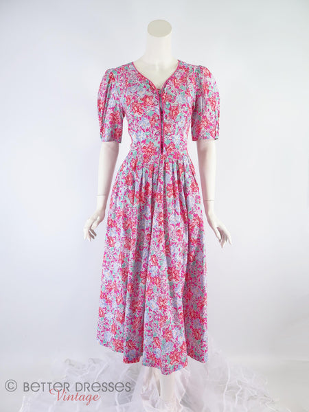 80s Laura Ashley Floral Dress - no crinoline