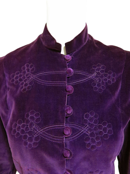 Vtg Purple Velvet Victorian-Style Jacket - close view