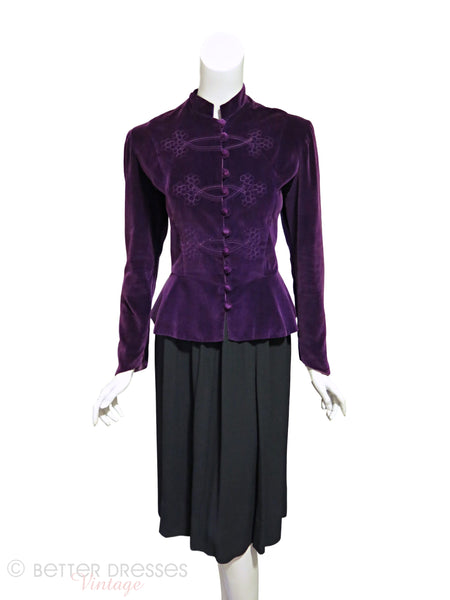 Vtg Purple Velvet Peplum Jacket