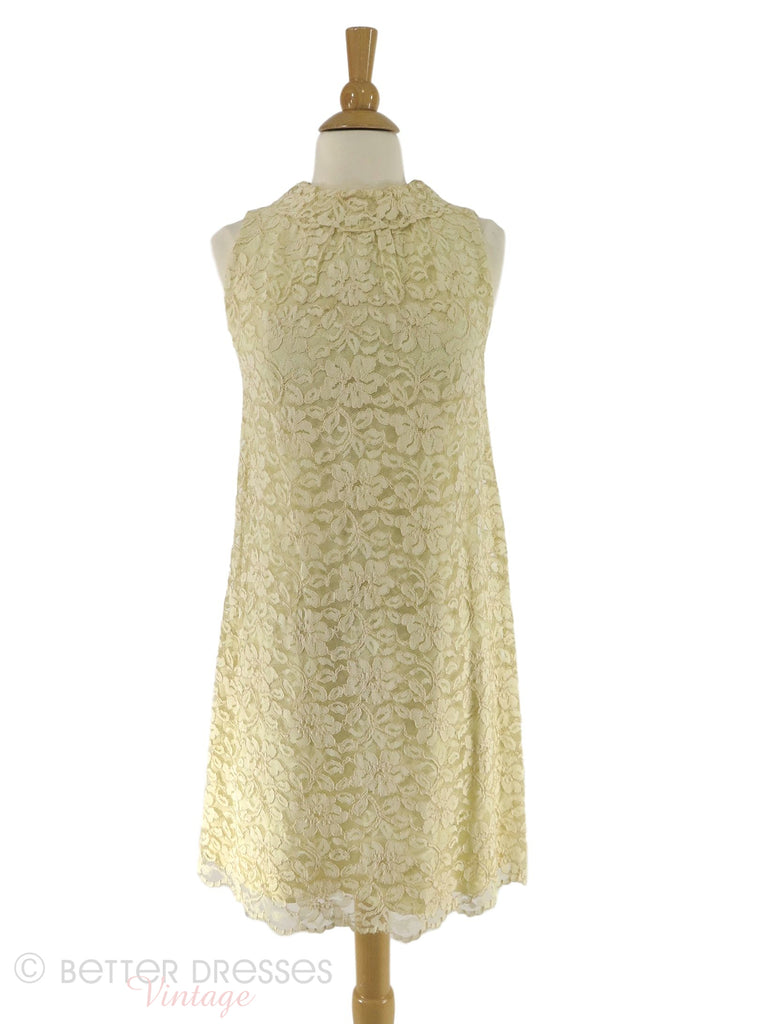 60s cream lace shift dress - front