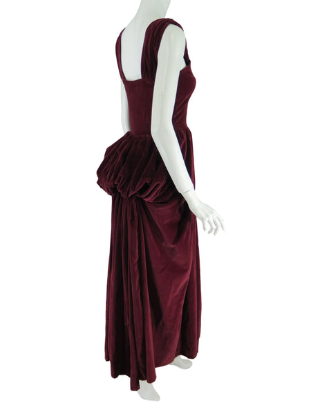 40s Burgundy Velvet Ball Gown With Bustle - side view