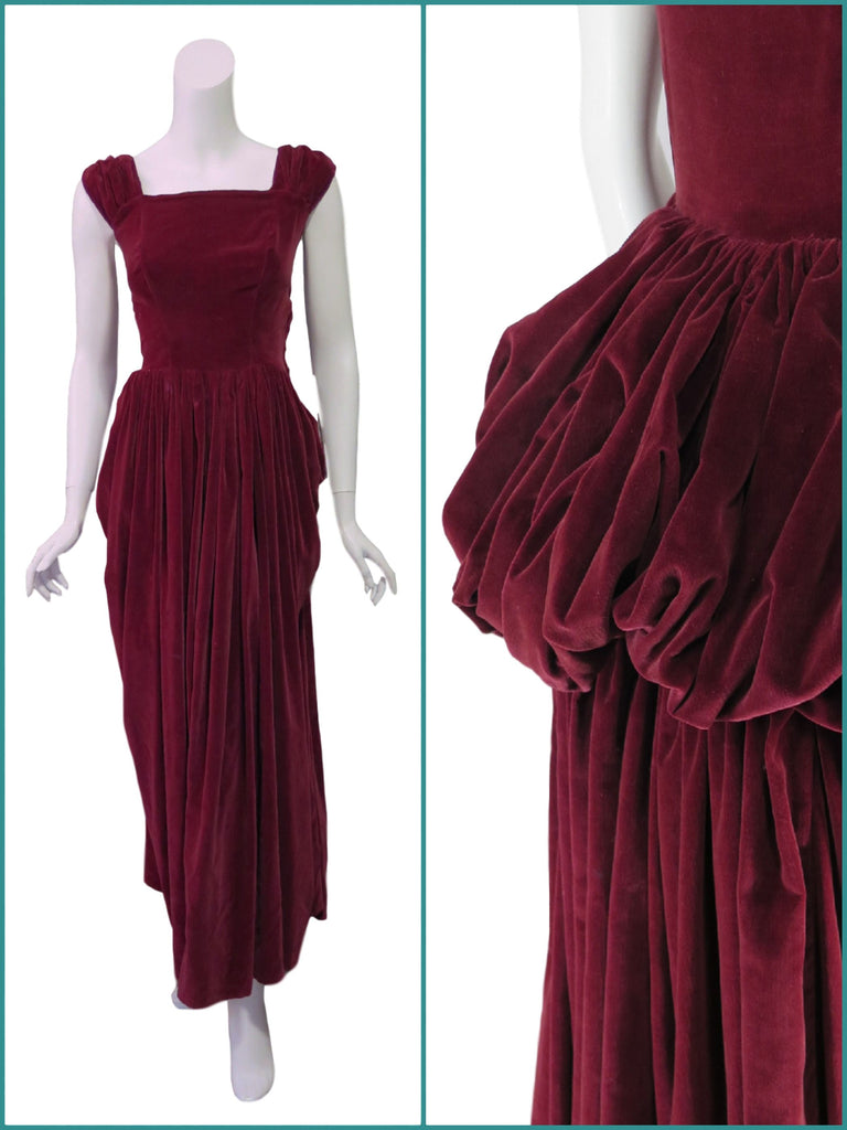 40s Burgundy Velvet Ball Gown With Bustle