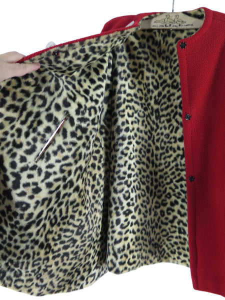 40s Red and Leopard Cape - interior