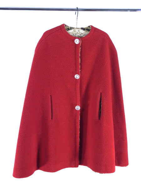 40s Toddler Cape in Red and Leopard Fleece