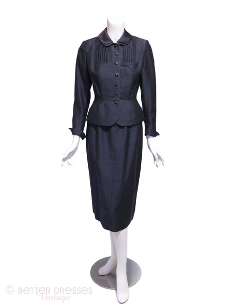 50s Navy Blue Skirt Suit