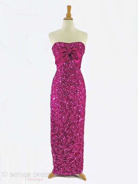 Vintage Fuchsia Strapless Dress - full view