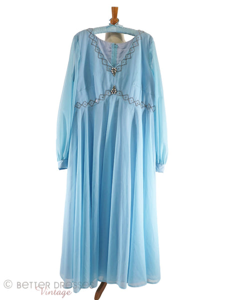 1960s Mike Benet Formals Plus Size Light Blue Gown