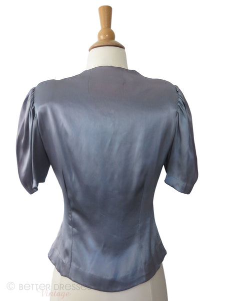 40s Blue Gray Satin Blouse - med