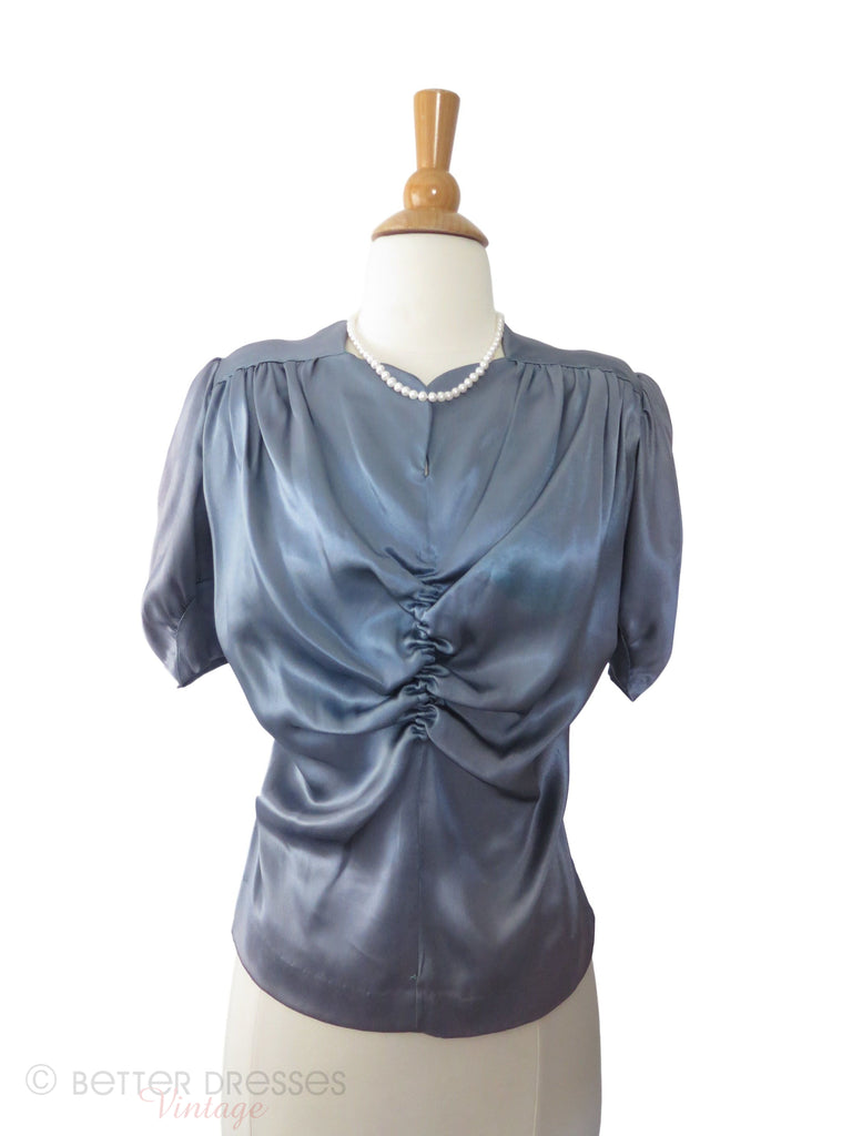40s Blue Gray Satin Blouse