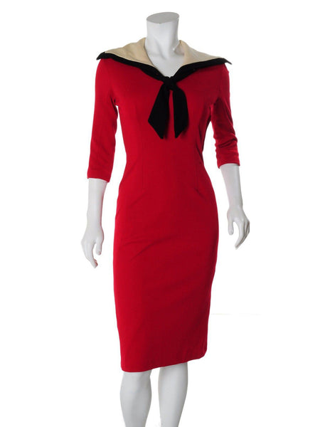 Vintage Wool Sailor Wiggle Dress